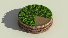 Wijs op het diagram van de ongeveer 80 percentscirkel, grafiek De elementen van Ecoinfographic met bomen, bladeren, aarde en gras royalty-vrije illustratie