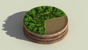 Wijs op het diagram van de ongeveer 70 percentscirkel, grafiek De elementen van Ecoinfographic met bomen, bladeren, aarde en gras royalty-vrije illustratie
