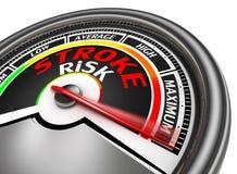 Wijst de conceptuele meter van het slagrisico op maximum Stock Foto