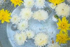 Wijwater in zilveren kom boeddhisme in tempel in geel en wit Thailand stock foto's