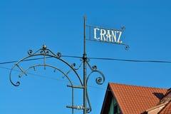 Wijzer aan de naam van de stad Cranz Zelenogradsk tot 1946 Stock Foto's