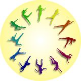 Wijzerplaat kleurrijke dansers stock afbeelding
