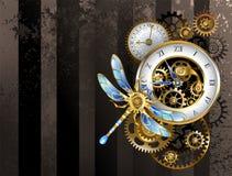 Wijzerplaten met libel - Steampunk-achtergrond vector illustratie