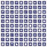 100 wijzerspictogrammen geplaatst grunge saffier Stock Afbeeldingen