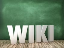 WIKI 3D Word on Chalkboard Background. High Quality 3D Rendering vector illustration
