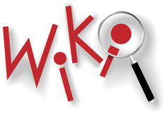 Wiki find information magnifying glass shadows. Wiki to search and find information with red dot copyspace magnifying glass and shadows Royalty Free Stock Photo
