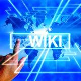 Wiki-het Onderwijs en de Encyclopediewebsites van Internet van Kaartvertoningen Stock Afbeeldingen
