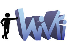 Wiki information people symbol icon. A symbol person leans on a wiki icon design Royalty Free Stock Image