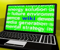 Wiki Laptop Shows Online Websites Knowledge Or Encyclopedia On I Royalty Free Stock Photo