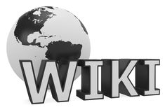 Wiki text and Earth globe Royalty Free Stock Photo