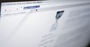 Wikileaks.com - browser address bar. Website of Wikileaks presenting confidential documents concerning the war in Afghanistan. Wikileaks-activists stated via the Royalty Free Stock Photography