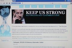 Wikileaks del homepage fotos de archivo libres de regalías