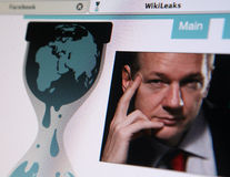 WikiLeaks homepage. View of the WikiLeaks homepage featuring its founder Julian Assange  taken on December 6, 2010 Royalty Free Stock Photos