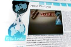 Wikileaks Web site stockbild