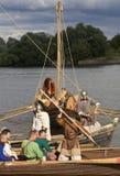 Wikinger auf Boot, historisches Festival Lizenzfreie Stockfotos