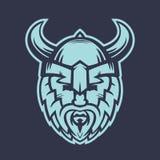 Wikinger-Logoelement, Krieger im Sturzhelm mit Hörnern stock abbildung
