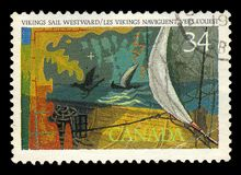 Wikinger segeln nach Westen gerichtete Malerei durch kanadischen Maler Frederick Hagan Stockfotos