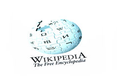 Wikipedia logo. Wikipedia website logo on internet stock photo