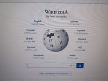 Wikipedia open encyclopedia homepage. SAN FRANCISCO, CALIFORNIA, USA - CIRCA MARCH 2019: Wikipedia open encyclopedia homepage, with links to different languages royalty free stock image