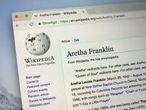Wikipedia sida om Aretha Franklin arkivfoton