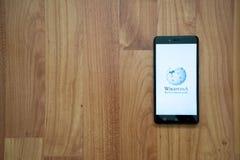 Wikipedia on smartphone Stock Photos