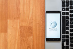 Wikipedia on smartphone screen Royalty Free Stock Image