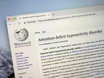 Wikipi sida om ADHD royaltyfri fotografi