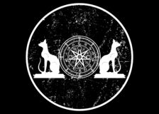 Wiccan symbol of protection. Set of Mandala Witches runes and white cats, Mystic Wicca divination. Ancient occult symbols, Earth. Zodiac Wheel of the Year Wicca stock illustration