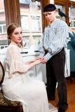 Wiktoriańska para: żeglarz i dziewczyna Zdjęcia Royalty Free