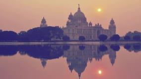 Wiktoria pomnik w wieczór, Kolkata, India czasu upływ zbiory