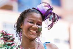 WIKTORIA, SEYCHELLES †'Kwiecień 26, 2014: Szczęśliwe kreol kobiety przy t Obraz Stock