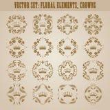Wiktoriańska korona i dekoracyjni elementy. Obraz Royalty Free