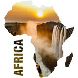 Wiktoria spada zmierzch, pomarańczowy słońce i Africa kontynentu kontur, obrazy royalty free