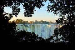 Wiktoria spadki, siklawa w afryce poludniowa na Zambezi rzece przy granicą między zambiami i Zimbabwe, Krajobraz w Afryka Zdjęcie Royalty Free