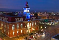 Wiktoria urząd miasta przy nocą Zdjęcie Royalty Free