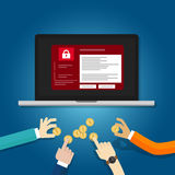 Wil hakker malware concept slotomslag schreeuwen en van het de holdingsmuntstuk van de geldhand vragen het het losgeldwaren geslo Stock Foto's