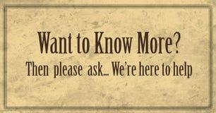 Wil meer kennen, alstublieft Banner vragen vector illustratie