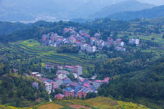 Wilage arroung terraced rice fields Royalty Free Stock Photo