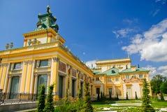 Wilanow宫殿-南侧和钟塔,华沙 库存照片
