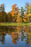 Wilanow宫殿-池塘在公园 库存图片