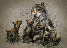 Wilcza rodzinna drapieżnik akwareli obrazu zwierząt tła tekstura royalty ilustracja