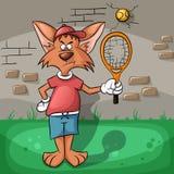 Wilczy bardzo ciężki bawić się tenis Fotografia Royalty Free