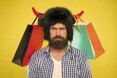 Free Wild About Shopping. Shopping Concept. Guy Shopping Sales Season With Discounts. Full Packages Of Items. Man Strict Face Stock Images - 161342024