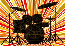 Wild Abstract Jazz Drum Kit Background. Silhouette of a rock bands drum kit over a ray splash grunge background vector illustration