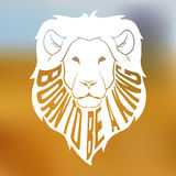 Wild african lion head silhouette with text inside. On blurred background. vector illustration Royalty Free Stock Images