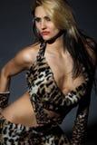 Wild amazonian woman stock photo