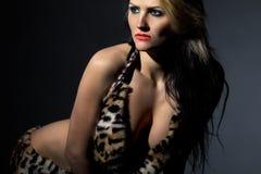 Wild amazonian woman stock image