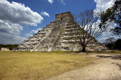 Wild angle of the chichen itza temple  tulum mexico Stock Photos