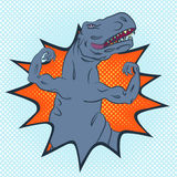 Wild angry monster. Brave and strong tyrannosaurus with well-trained upper limbs, pop-art style conceptual illustration Royalty Free Stock Photography