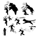 Wild Animal Attacking Human Pictogram Icon. A set of human pictogram representing wild animals (bear, deer, monkey, tiger, snake, mosquito, and bees) attacking Stock Photography